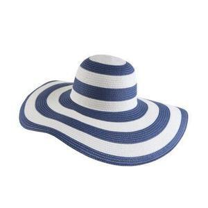 Straw Floppy Black & White Striped Beach Hat | Sollenses.com