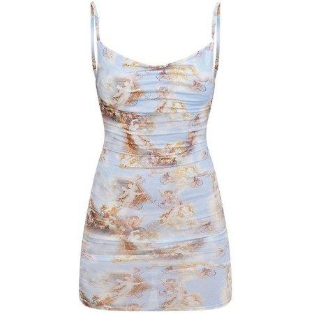Pale Blue Renaissance Print Cowl Neck Bodycon Dress ($25)