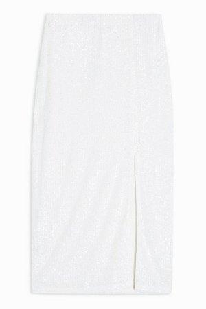 White Sequin Pencil Skirt | Topshop