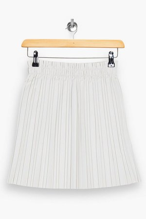 PU White Pleated Mini Skirt | Topshop