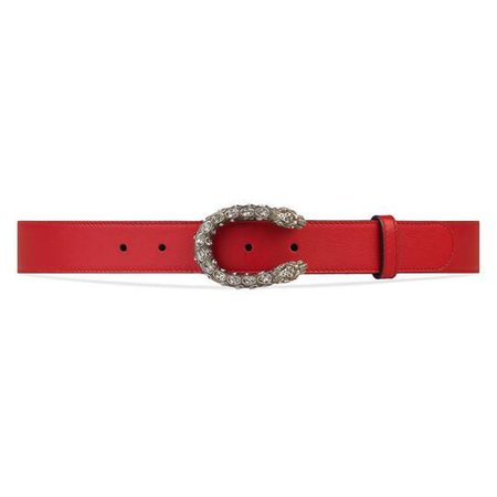 Leather belt with crystal Dionysus buckle | GUCCI®