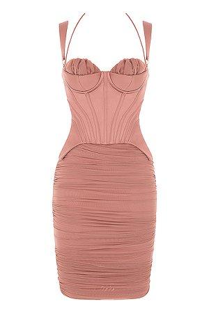 Clothing : Midi Dresses : 'Talya' Antique Rose Corset Midi Dress