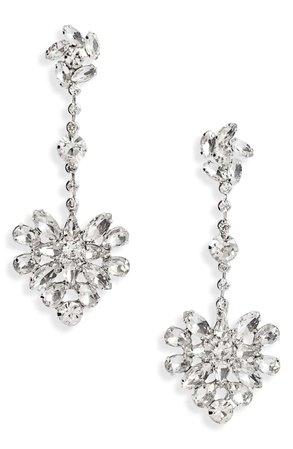 CRISTABELLE Crystal Floral Cluster Drop Earrings | Nordstrom