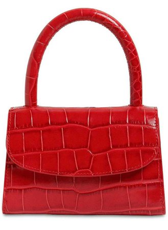 BY FAR Red Croc Mini Handbag
