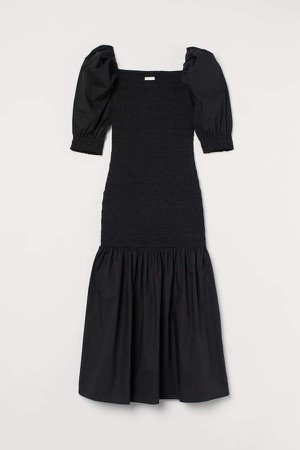Smocked Cotton Dress - Black