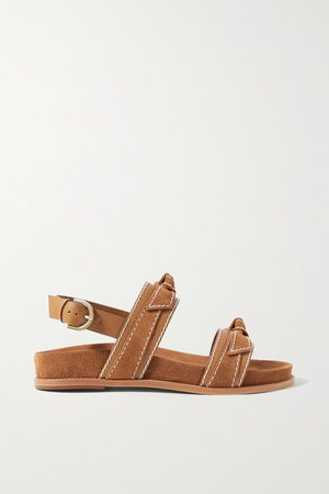 Clarita Sport Bow-embellished Suede And Leather Sandals - Tan