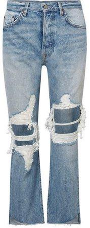 Helena Distressed High-rise Straight-leg Jeans - Mid denim