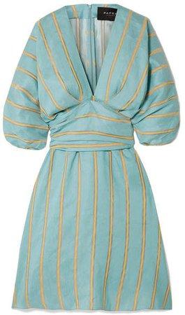 Kaia Striped Linen-blend Dress - Turquoise