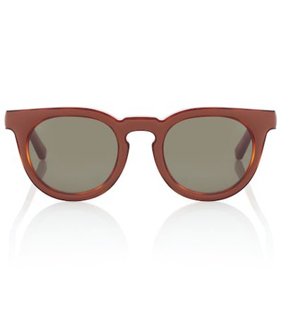 Leather-trimmed square sunglasses