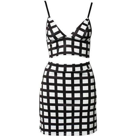 Black & White Check Bralet+A-Line Skirt Set