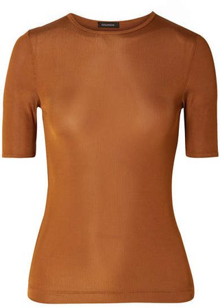 The Bound Ribbed Stretch-jersey T-shirt - Camel