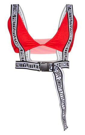 Prettylittlething Red Buckle Bralet | Tops | PrettyLittleThing