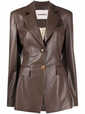 Nanushka artificial leather single-breasted blazer