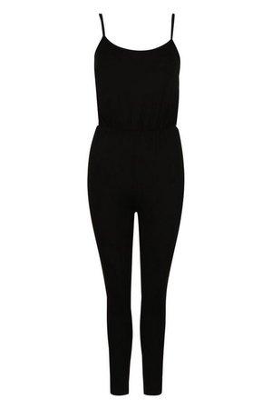 Petite Side Stripe Jersey Jumpsuit   boohoo black