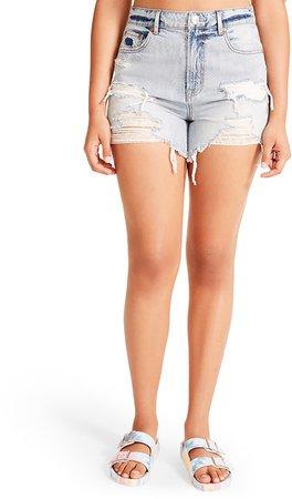 Ripped Denim Shorts Light Blue