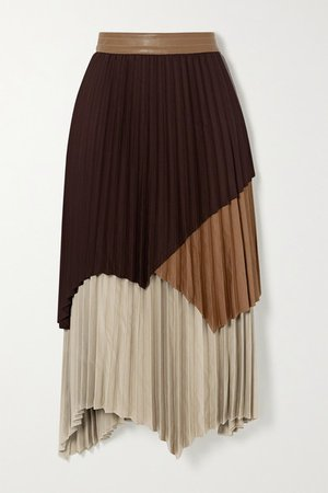 Gwen Asymmetric Layered Pleated Color-block Crepe Skirt - Brown