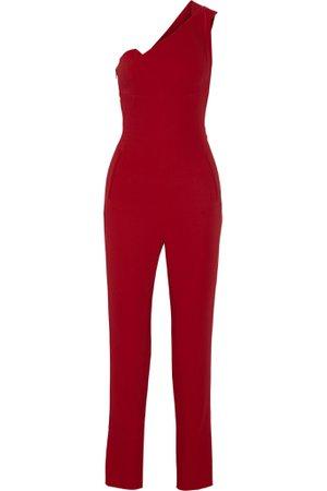 Red Nortoni one-shoulder stretch-crepe jumpsuit | Roland Mouret | NET-A-PORTER