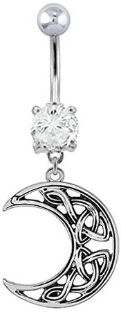 Amazon.com: Clear cz Celtic knot tribal MOON dangle Belly button navel Ring piercing bar body jewelry 14g: Clothing