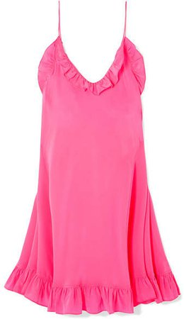 Les Rêveries - Ruffled Silk Crepe De Chine Mini Dress - Pink