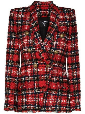 Balmain Tartan Tweed double-breasted Blazer - Farfetch