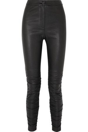 T by Alexander Wang | Ruched stretch-leather skinny pants | NET-A-PORTER.COM