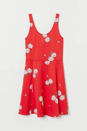Sleeveless Jersey Dress - Red
