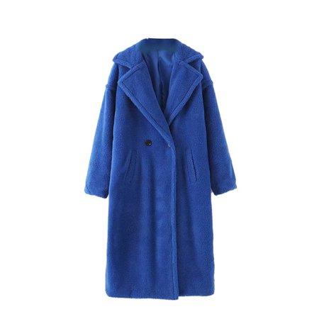 Blue SAMUE Faux Fur Teddy Bear Coat | JessicaBuurman