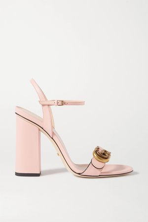 Pink Marmont logo-embellished leather sandals | Gucci | NET-A-PORTER