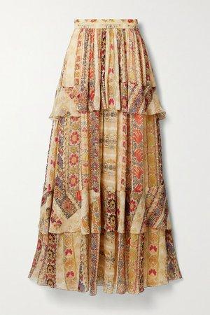 Tiered Floral-print Silk Crepe De Chine Maxi Skirt - Beige