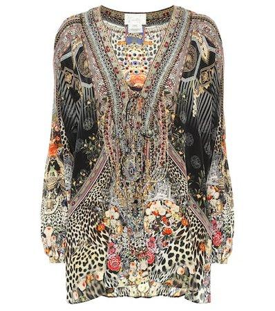 Embellished printed silk blouse