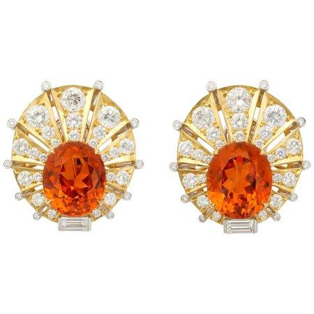 Rare Gem Quality Mandarin Garnet and Diamond Earrings For Sale at 1stDibs