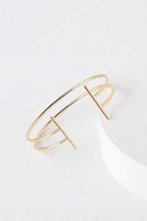 Chic Gold Bracelet - T-Bar Bracelet - Cuff Bracelet - Minimalist