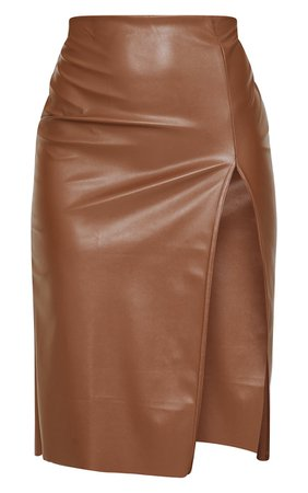 Camel Faux Leather Split Detail Midi Skirt | PrettyLittleThing USA