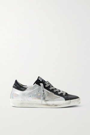 Superstar Metallic Distressed Leather And Suede Sneakers - White