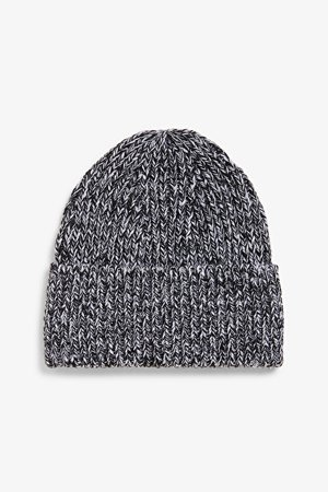 Classic ribbed beanie - Black and white - Hats - Monki WW