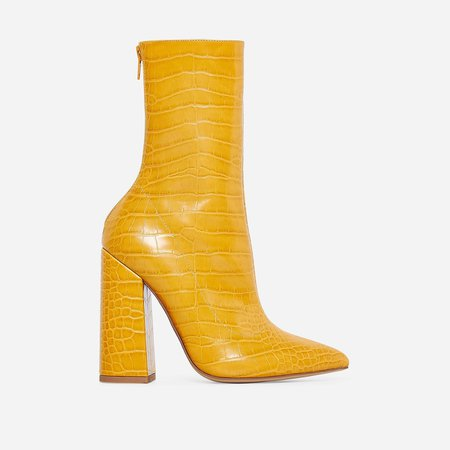 Laura Block Heel Ankle Boot In Yellow Croc Faux Leather   EGO