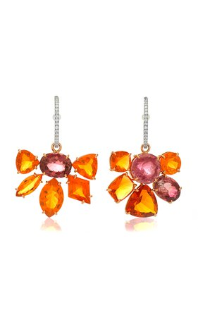 One of a Kind Fire Opal and Tourmaline Gemmy Gem Earrings by Irene Neuwirth | Moda Operandi