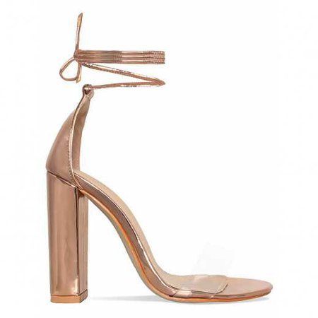 Harley Rose Gold Clear Lace Up Block Heels : Simmi Shoes