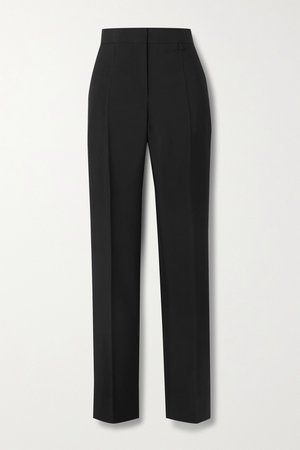 Black Pleated wool and mohair-blend tapered pants | Givenchy | NET-A-PORTER