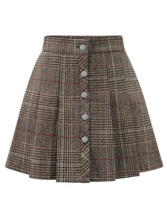 Khaki Plaid Button Front Mini Skirt