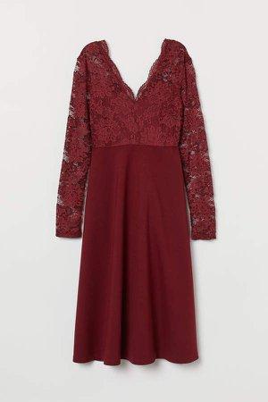 MAMA V-neck Dress - Red