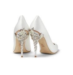 Ralph & Russo White Satin Eden Heels with Pearl and Silver Leaves