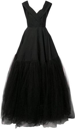 off-shoulder tulle gown