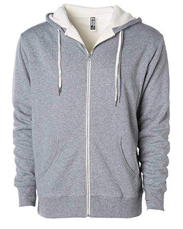 Global Unisex Heavyweight Sherpa Lined Zip Up Fleece Hoodie Jacket Salt/Pepper XS at Amazon Men's Clothing store: