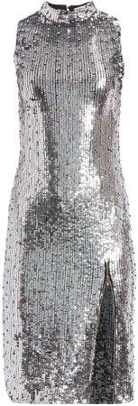 Malika Metallic Sequin Midi Dress