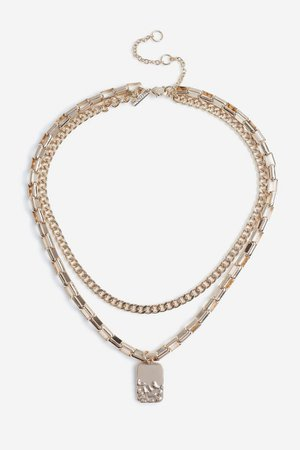 **Dipped Tag Multirow Necklace | Topshop