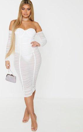 White Mesh Ruched Velvet Binded Bardot Midi Dress | PrettyLittleThing