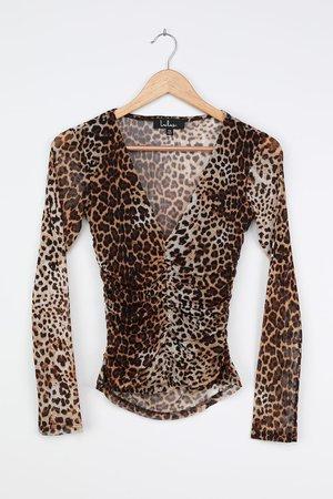Tan Leopard Print Bodysuit - Ruched Bodysuit - Sexy Mesh Bodysuit