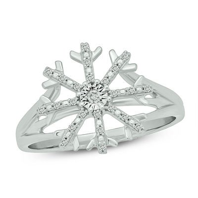 1/10 CT. T.W. Diamond Snowflake Ring in Sterling Silver | View All Rings | Rings | Gordon's Jewelers
