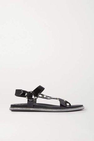 Embellished Patent-leather Sandals - Black